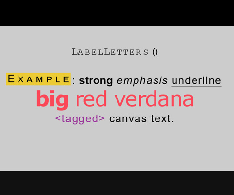 ZIM LabelLetters - Now with text HTML tags