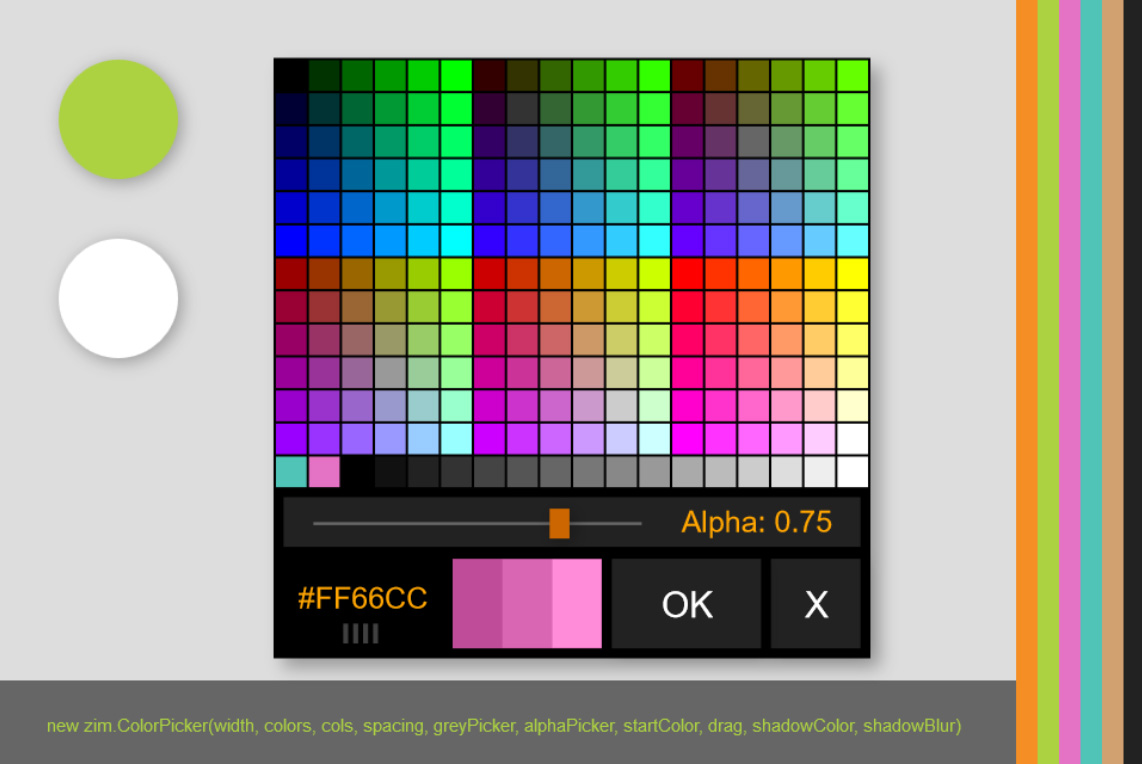 Greys plus 256 Color Data in a ZIM ColorPicker