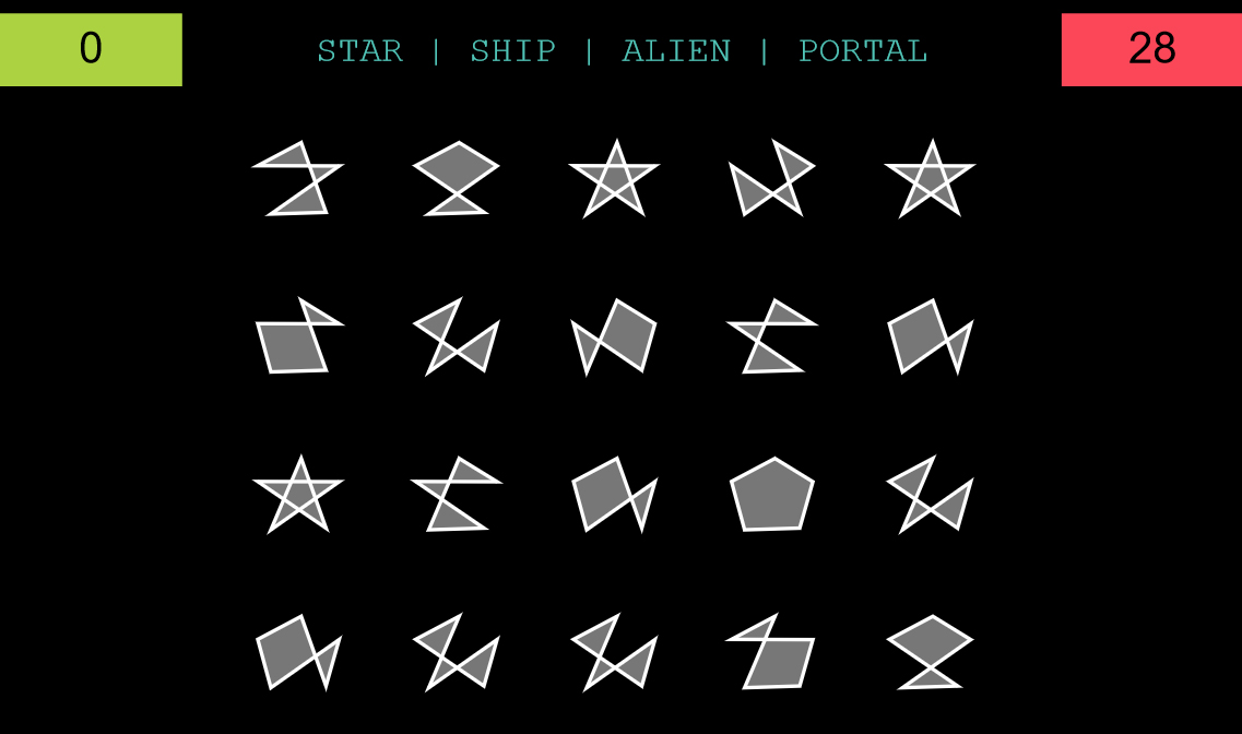 Star, Ship, Alien, Portal - memory game