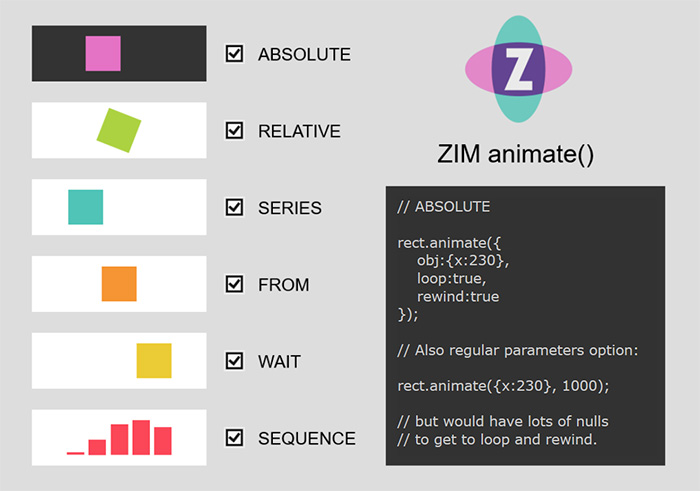 The powerful ZIM Animate - see the ANIMATE constant too!