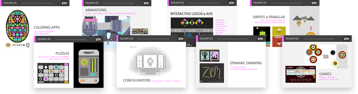 ZIM Features - JavaScript HTML Canvas Interactive Media Framework powered by CreateJS - ZIMjs