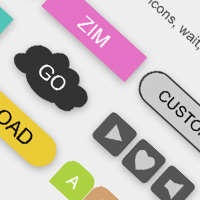 Buttons featured on CodePen for the Canvas made with ZIM JavaScript HTML Canvas Interactive Media Framework powered by CreateJS - ZIMjs