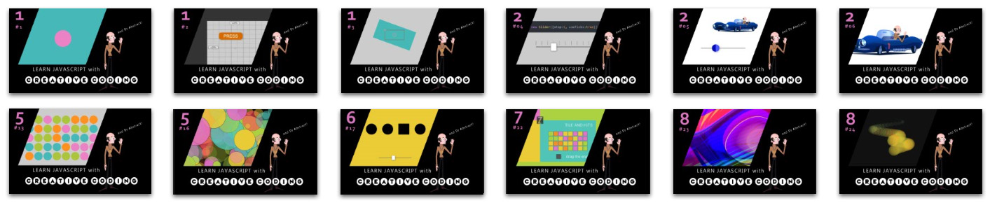 A series of video thumbnails for the learn javascript with creative coding youtube series
